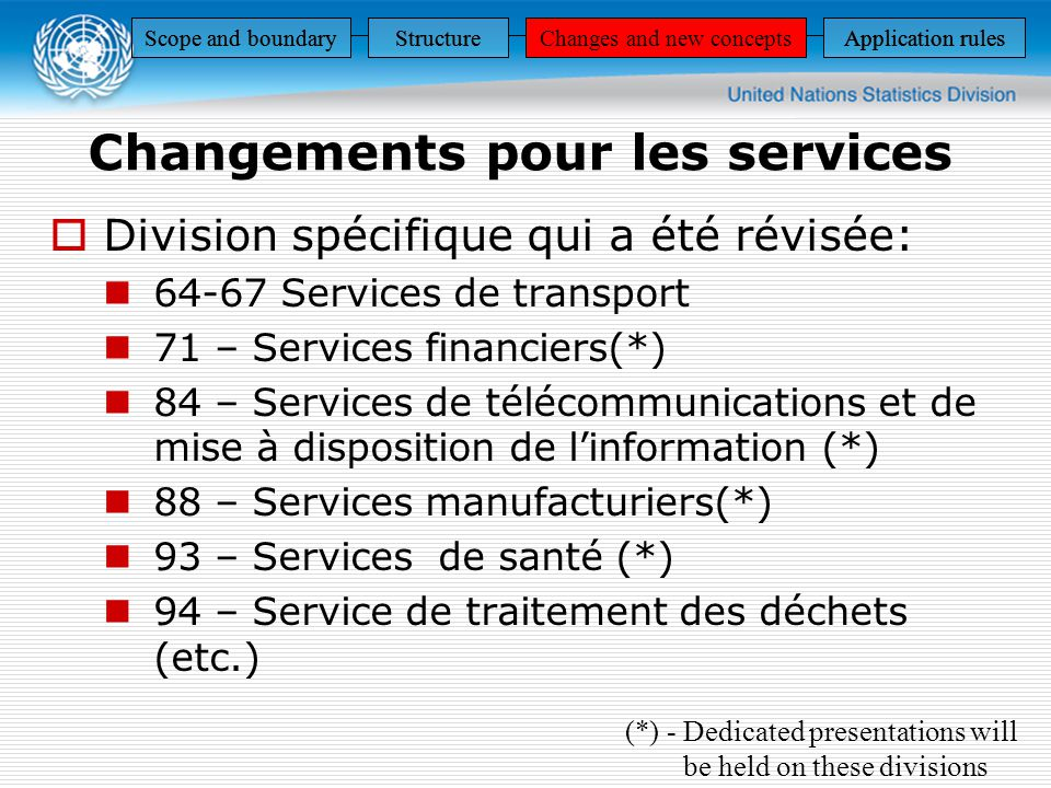 Scope and boundaryStructureChanges and new conceptsApplication rules StructureChanges and new conceptsApplication rulesScope and boundaryStructureChanges and new conceptsApplication rulesScope and boundaryStructureChanges and new conceptsApplication rules Division spécifique qui a été révisée: 64-67 Services de transport 71 – Services financiers(*) 84 – Services de télécommunications et de mise à disposition de linformation (*) 88 – Services manufacturiers(*) 93 – Services de santé (*) 94 – Service de traitement des déchets (etc.) Changements pour les services (*) - Dedicated presentations will be held on these divisions