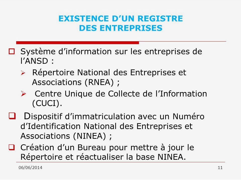 EXISTENCE DUN REGISTRE DES ENTREPRISES Système dinformation sur les entreprises de lANSD : Répertoire National des Entreprises et Associations (RNEA) ; Centre Unique de Collecte de lInformation (CUCI).