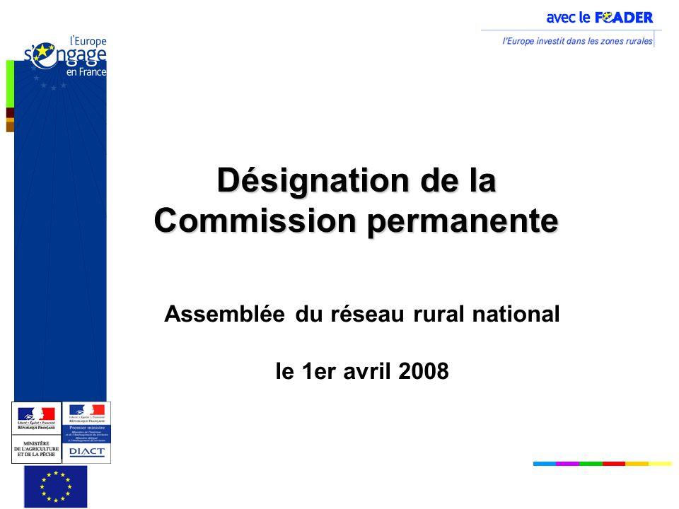 Désignation de la Commission permanente Assemblée du réseau rural national le 1er avril 2008