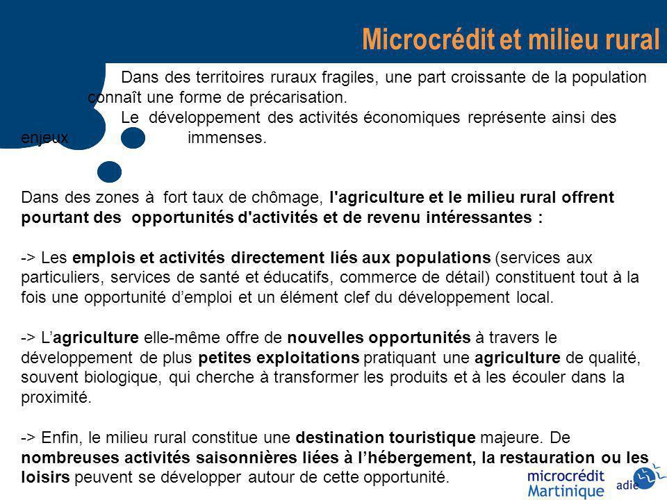 Microcrédit et milieu rural Dans des territoires ruraux fragiles, une part croissante de la population connaît une forme de précarisation.