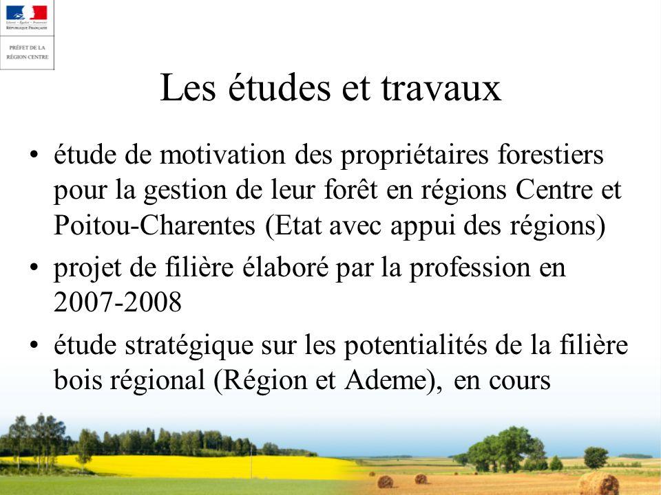 Les études et travaux étude de motivation des propriétaires forestiers pour la gestion de leur forêt en régions Centre et Poitou-Charentes (Etat avec appui des régions) projet de filière élaboré par la profession en 2007-2008 étude stratégique sur les potentialités de la filière bois régional (Région et Ademe), en cours