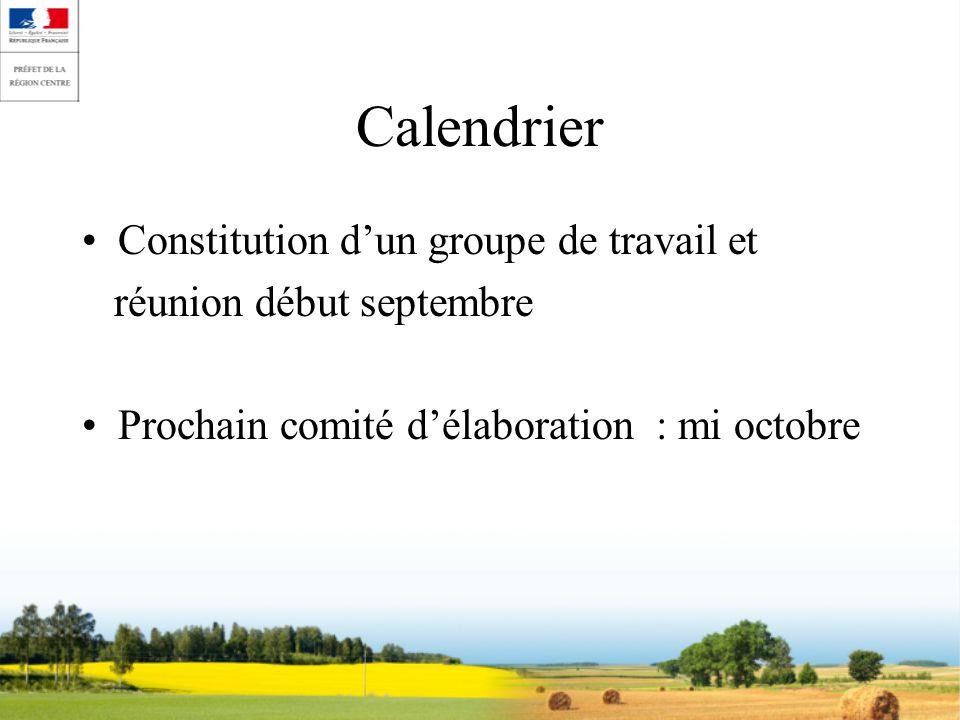 Calendrier Constitution dun groupe de travail et réunion début septembre Prochain comité délaboration : mi octobre