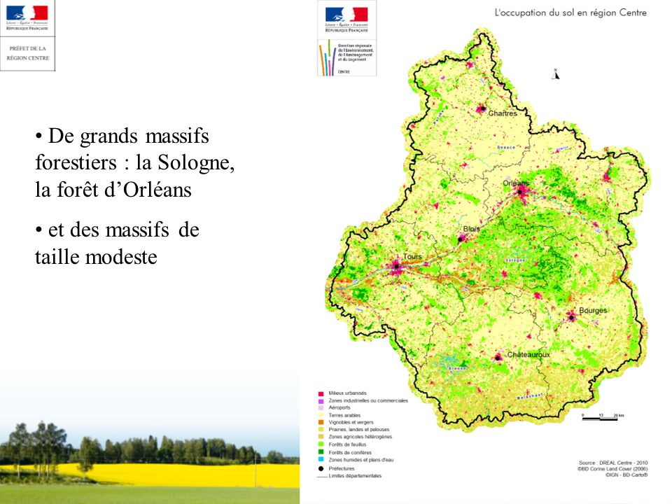 De grands massifs forestiers : la Sologne, la forêt dOrléans et des massifs de taille modeste