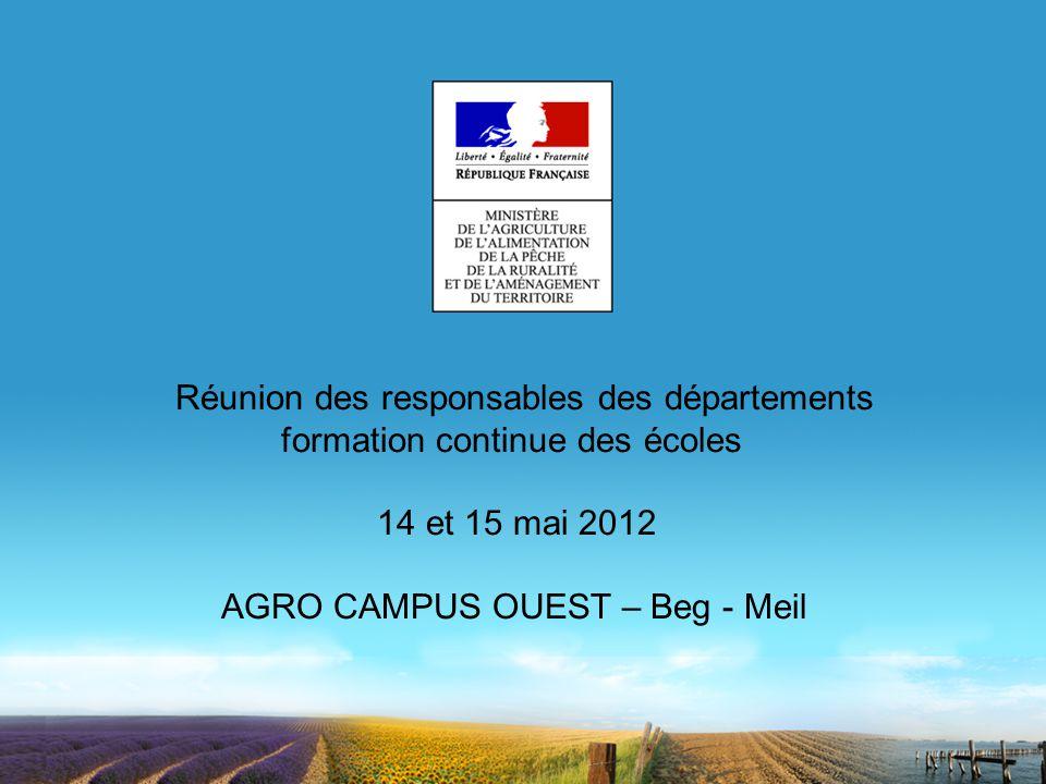 Réunion des responsables des départements formation continue des écoles 14 et 15 mai 2012 AGRO CAMPUS OUEST – Beg - Meil