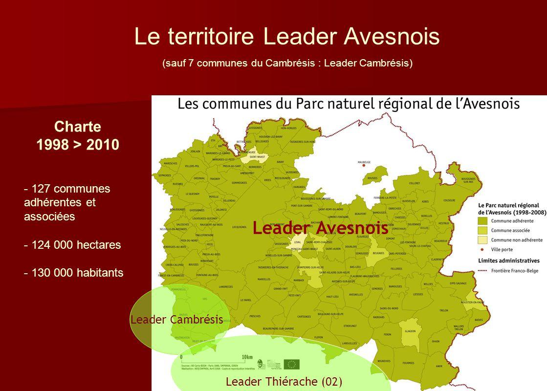 Le territoire Leader Avesnois (sauf 7 communes du Cambrésis : Leader Cambrésis) Charte 1998 > 2010 - 127 communes adhérentes et associées - 124 000 he