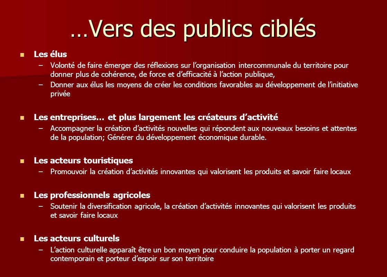 …Vers des publics ciblés Les élus – –Volonté de faire émerger des réflexions sur lorganisation intercommunale du territoire pour donner plus de cohére