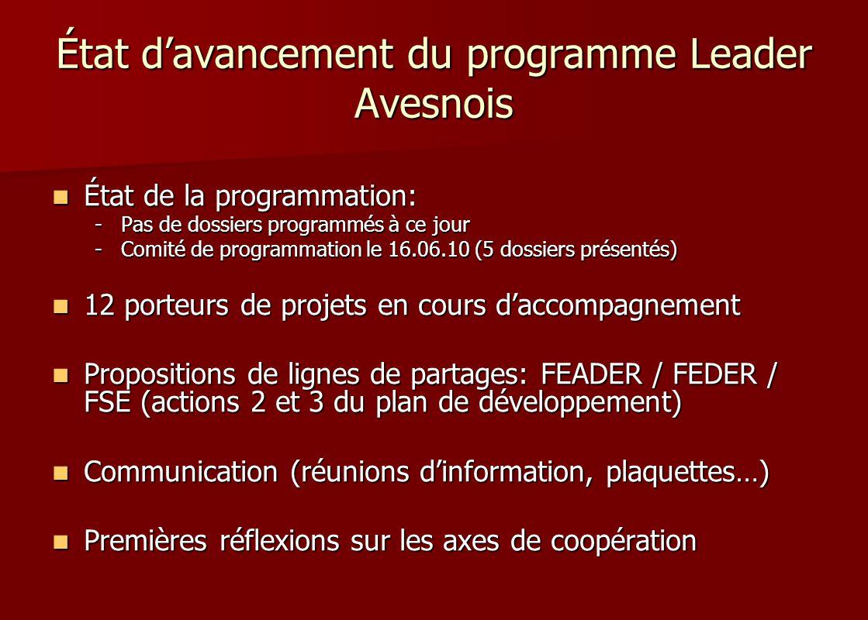 État davancement du programme Leader Avesnois État de la programmation: État de la programmation: -Pas de dossiers programmés à ce jour -Comité de pro