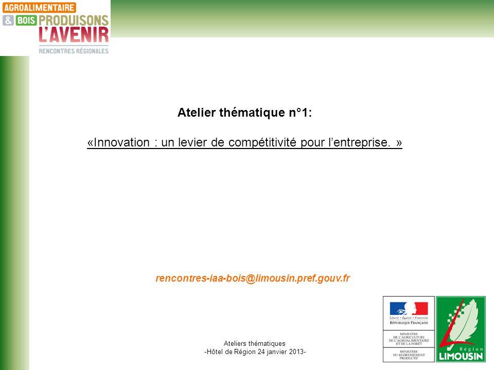 Ateliers thématiques -Hôtel de Région 24 janvier 2013- Atelier thématique n°1: «Innovation : un levier de compétitivité pour lentreprise.