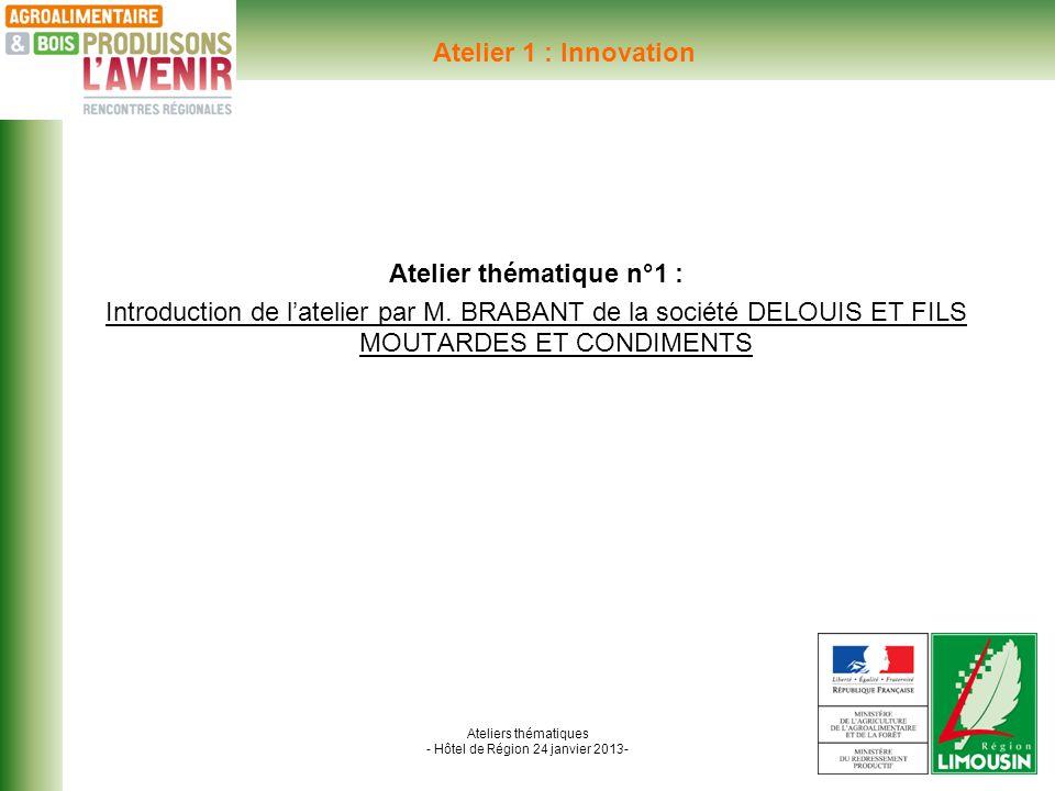 Ateliers thématiques - Hôtel de Région 24 janvier 2013- Atelier 1 : Innovation Atelier thématique n°1 : Introduction de latelier par M.