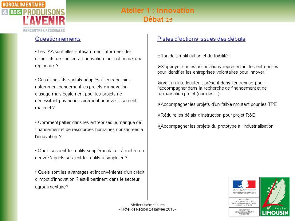 Ateliers thématiques - Hôtel de Région 24 janvier 2013- Atelier 1 : Innovation Débat 2/5 Questionnements Les IAA sont-elles suffisamment informées des dispositifs de soutien à l innovation tant nationaux que régionaux .