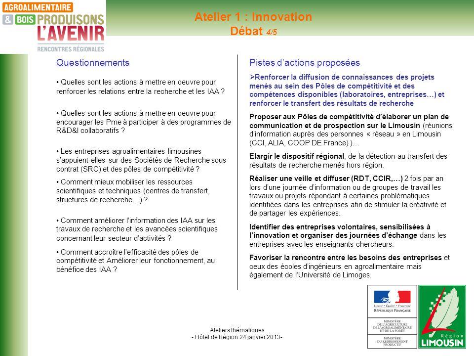 Ateliers thématiques - Hôtel de Région 24 janvier 2013- Atelier 1 : Innovation Débat 4/5 Questionnements Quelles sont les actions à mettre en oeuvre pour renforcer les relations entre la recherche et les IAA .