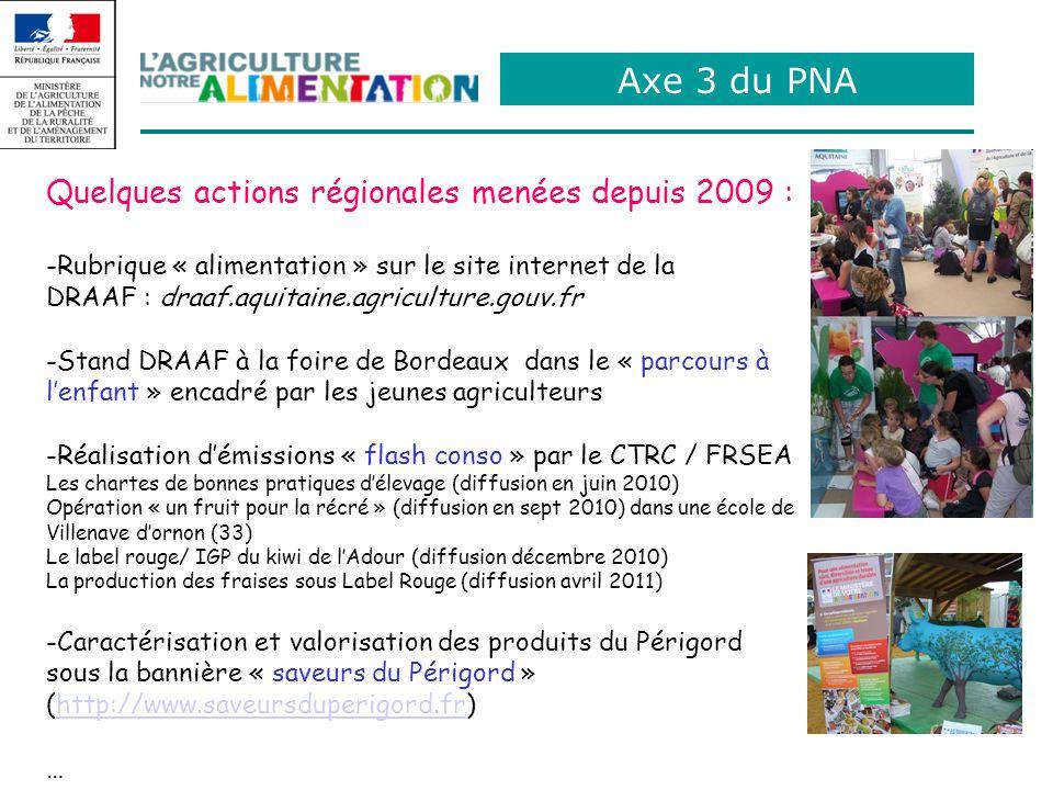 Axe 3 du PNA Quelques actions régionales menées depuis 2009 : -Rubrique « alimentation » sur le site internet de la DRAAF : draaf.aquitaine.agriculture.gouv.fr -Stand DRAAF à la foire de Bordeaux dans le « parcours à lenfant » encadré par les jeunes agriculteurs -Réalisation démissions « flash conso » par le CTRC / FRSEA Les chartes de bonnes pratiques délevage (diffusion en juin 2010) Opération « un fruit pour la récré » (diffusion en sept 2010) dans une école de Villenave dornon (33) Le label rouge/ IGP du kiwi de lAdour (diffusion décembre 2010) La production des fraises sous Label Rouge (diffusion avril 2011) -Caractérisation et valorisation des produits du Périgord sous la bannière « saveurs du Périgord » (http://www.saveursduperigord.fr)http://www.saveursduperigord.fr …