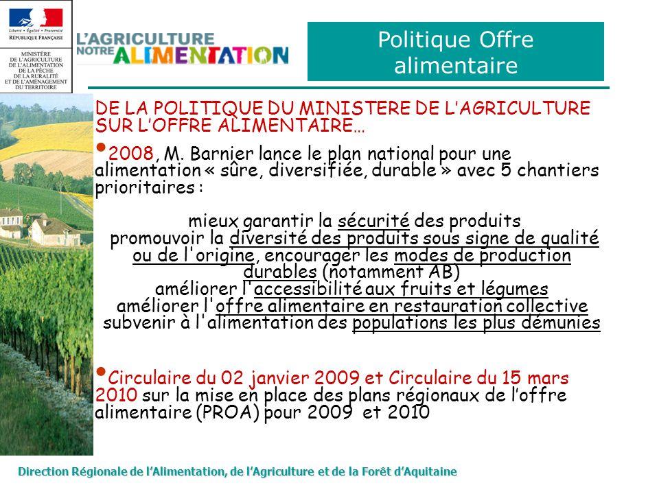 Direction Régionale de lAlimentation, de lAgriculture et de la Forêt dAquitaine Politique Offre alimentaire DE LA POLITIQUE DU MINISTERE DE LAGRICULTURE SUR LOFFRE ALIMENTAIRE… 2008, M.