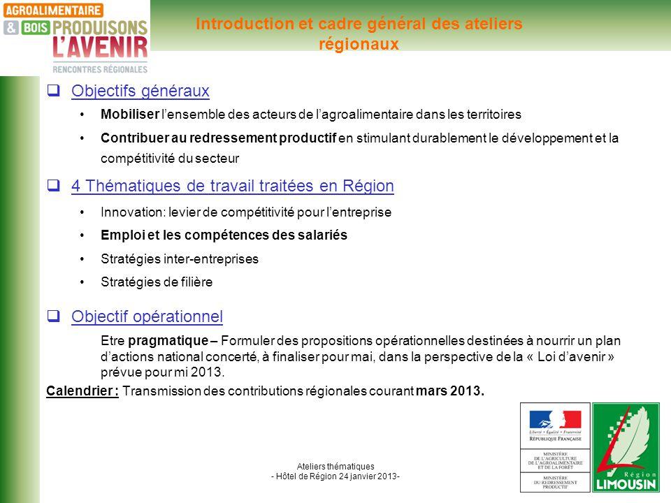 Ateliers thématiques - Hôtel de Région 24 janvier 2013- Atelier thématique n°2 : Introduction de latelier par Mme LACHEZE Coopérative fruitière PERLIM