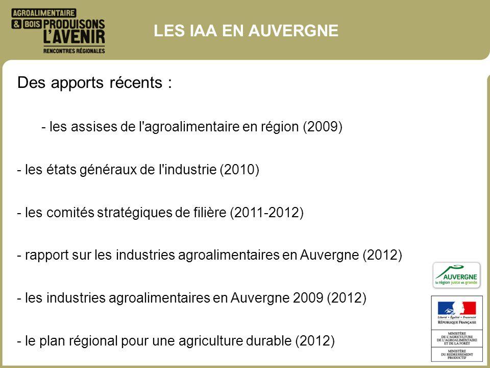 Des apports récents : - les assises de l'agroalimentaire en région (2009) - les états généraux de l'industrie (2010) - les comités stratégiques de fil