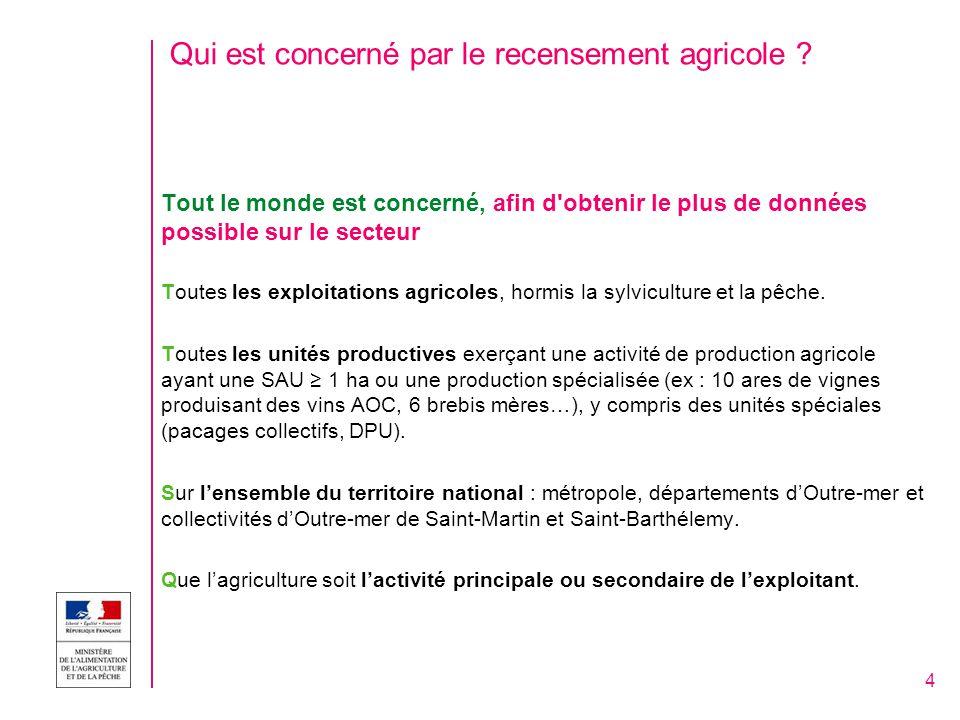 Qui est concerné par le recensement agricole .