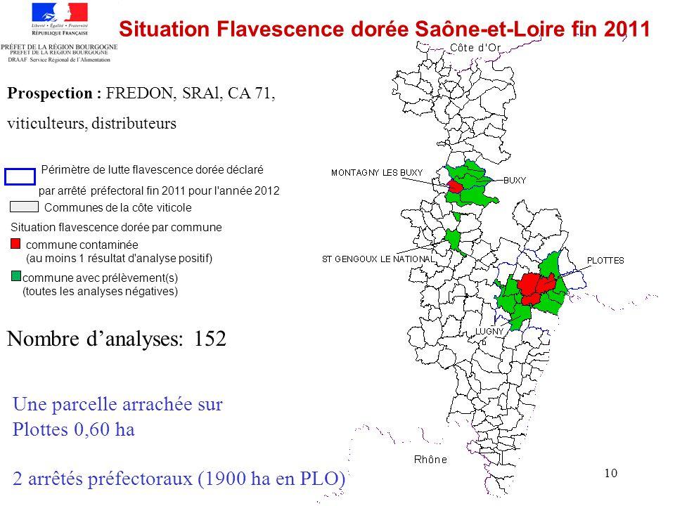 10 Situation Flavescence dorée Saône-et-Loire fin 2011 Périmètre de lutte flavescence dorée déclaré par arrêté préfectoral fin 2011 pour l'année 2012
