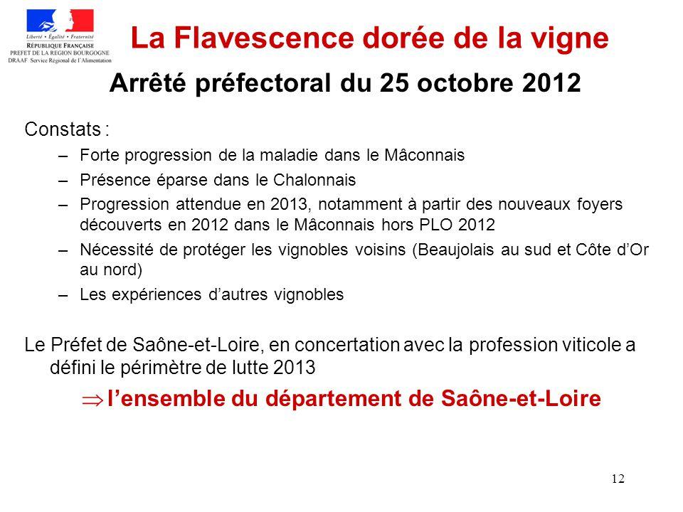 12 La Flavescence dorée de la vigne Constats : –Forte progression de la maladie dans le Mâconnais –Présence éparse dans le Chalonnais –Progression att