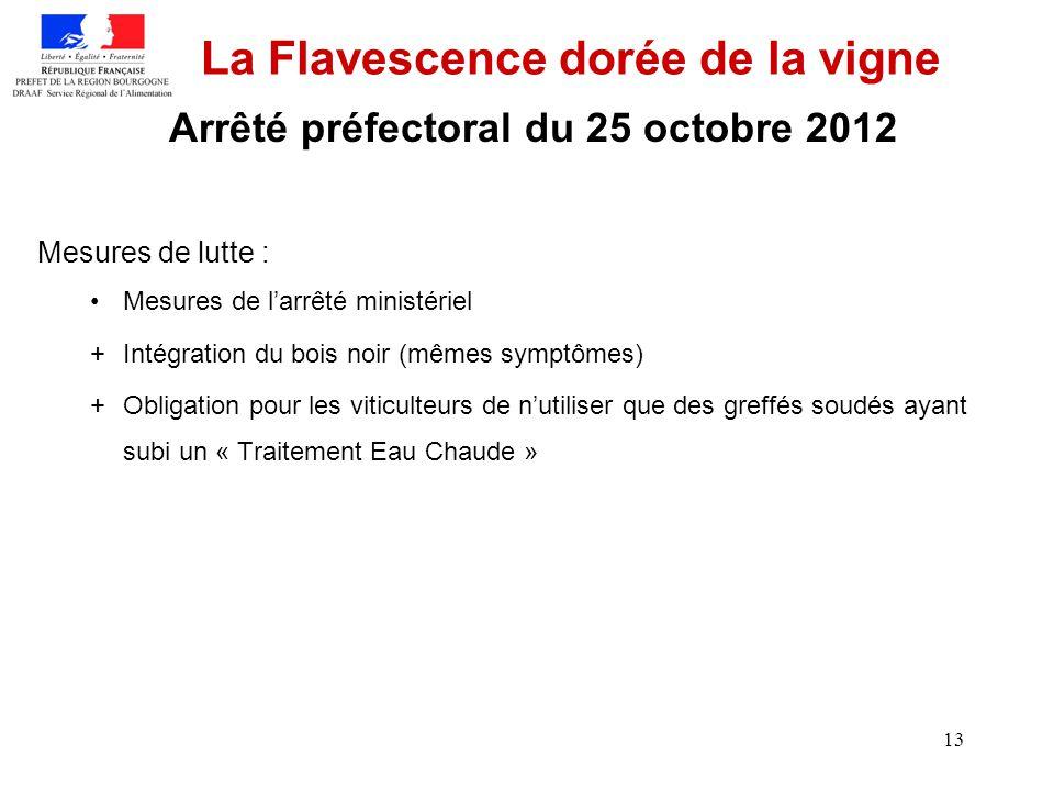 13 La Flavescence dorée de la vigne Mesures de lutte : Mesures de larrêté ministériel +Intégration du bois noir (mêmes symptômes) +Obligation pour les