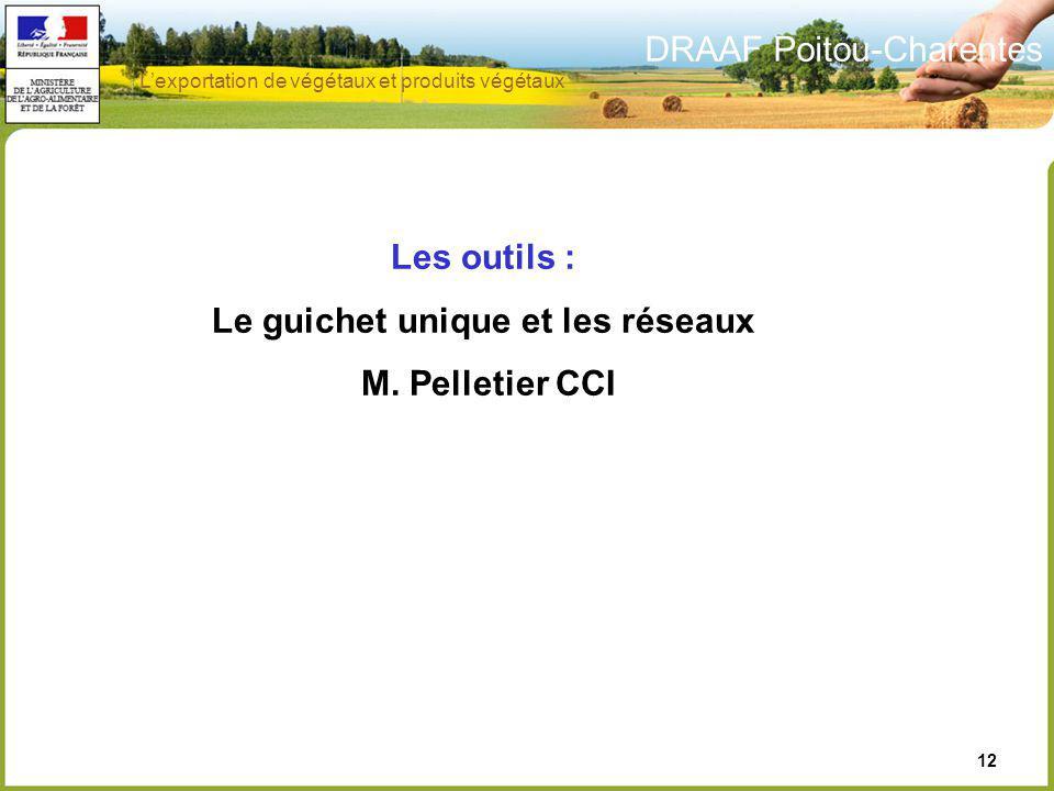 DRAAF Poitou-Charentes 12 Les outils : Le guichet unique et les réseaux M. Pelletier CCI Lexportation de végétaux et produits végétaux