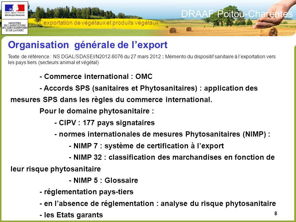 DRAAF Poitou-Charentes 8 Organisation générale de lexport Texte de référence : NS DGAL/SDASEI/N2012-8076 du 27 mars 2012 : Mémento du dispositif sanit