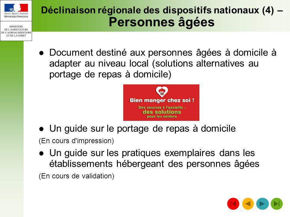Déclinaison régionale des dispositifs nationaux (4) – Personnes âgées Document destiné aux personnes âgées à domicile à adapter au niveau local (solut