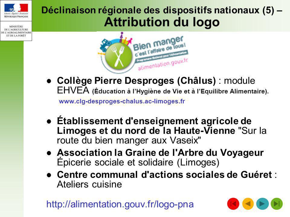 Déclinaison régionale des dispositifs nationaux (5) – Attribution du logo Collège Pierre Desproges (Châlus) : module EHVEA (Éducation à lHygiène de Vi