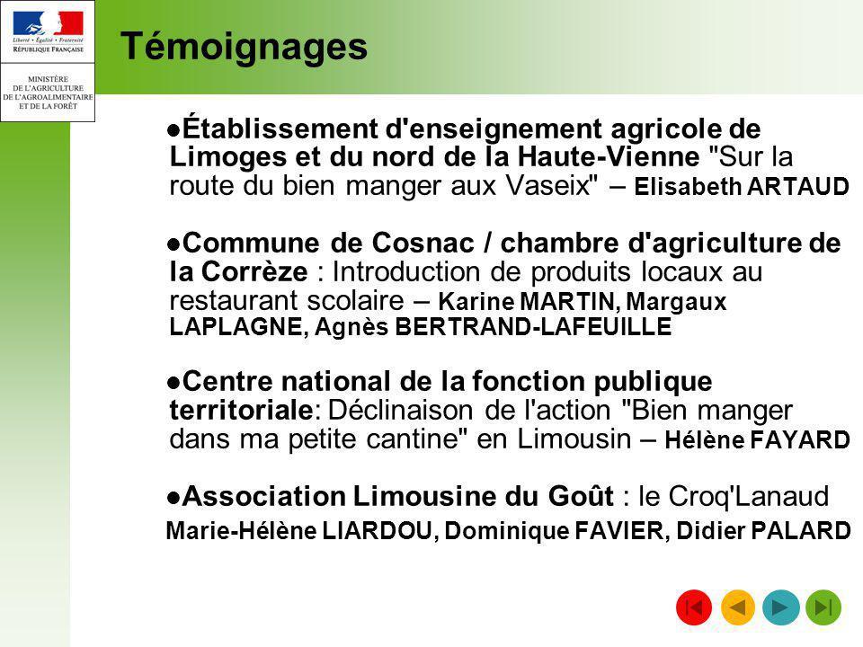 Témoignages Établissement d'enseignement agricole de Limoges et du nord de la Haute-Vienne