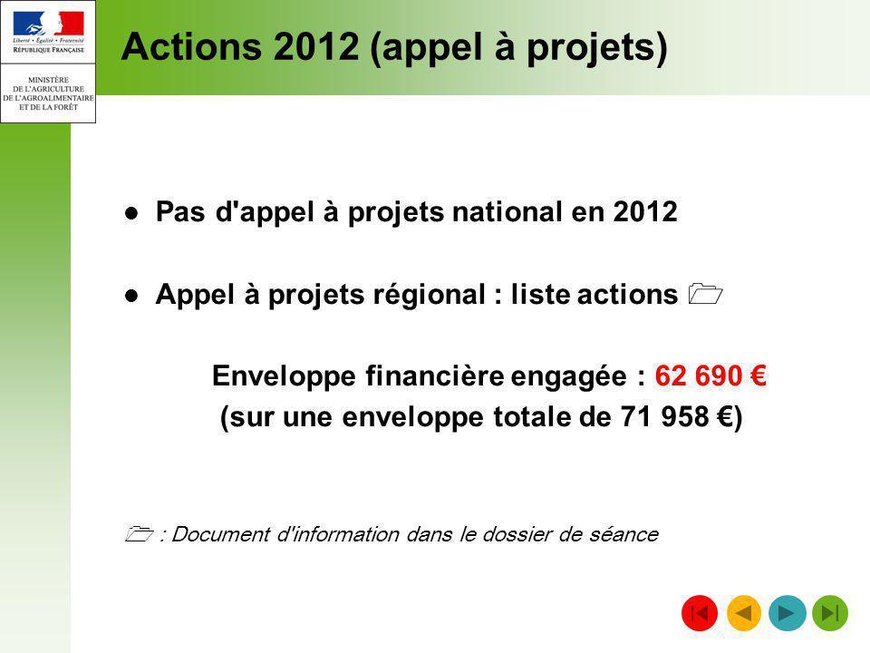 Actions 2012 (appel à projets) Pas d'appel à projets national en 2012 Appel à projets régional : liste actions Enveloppe financière engagée : 62 690 (