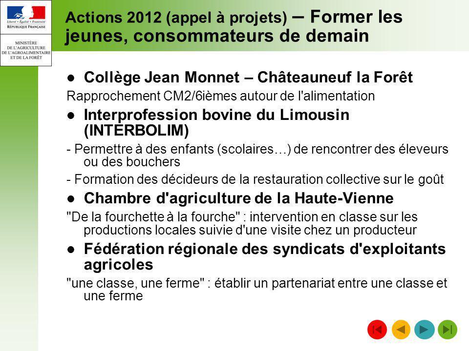 Actions 2012 (appel à projets) – Former les jeunes, consommateurs de demain Collège Jean Monnet – Châteauneuf la Forêt Rapprochement CM2/6ièmes autour