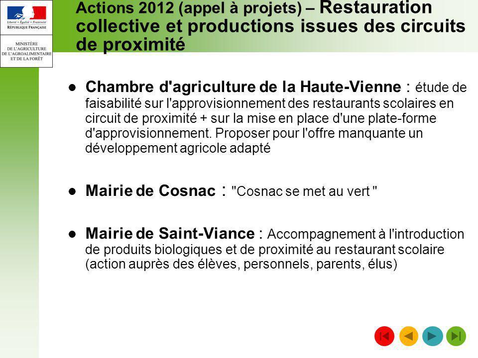 Actions 2012 (appel à projets) – Restauration collective et productions issues des circuits de proximité Chambre d'agriculture de la Haute-Vienne : ét