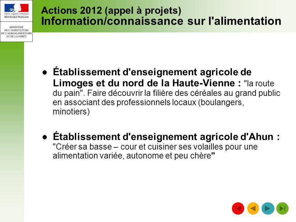 Actions 2012 (appel à projets) Information/connaissance sur l'alimentation Établissement d'enseignement agricole de Limoges et du nord de la Haute-Vie