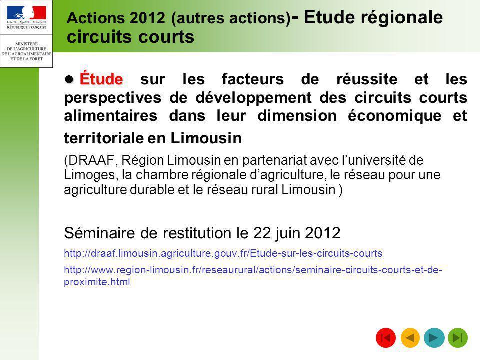 Actions 2012 (autres actions) - Etude régionale circuits courts Étude Étude sur les facteurs de réussite et les perspectives de développement des circ