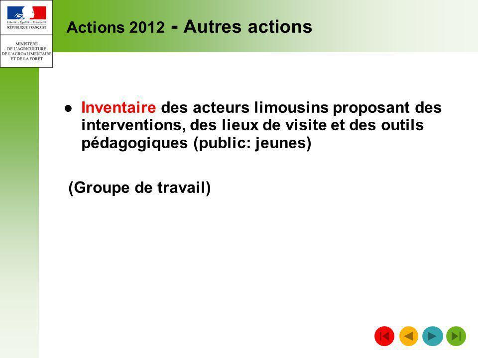 Actions 2012 - Autres actions Inventaire des acteurs limousins proposant des interventions, des lieux de visite et des outils pédagogiques (public: je