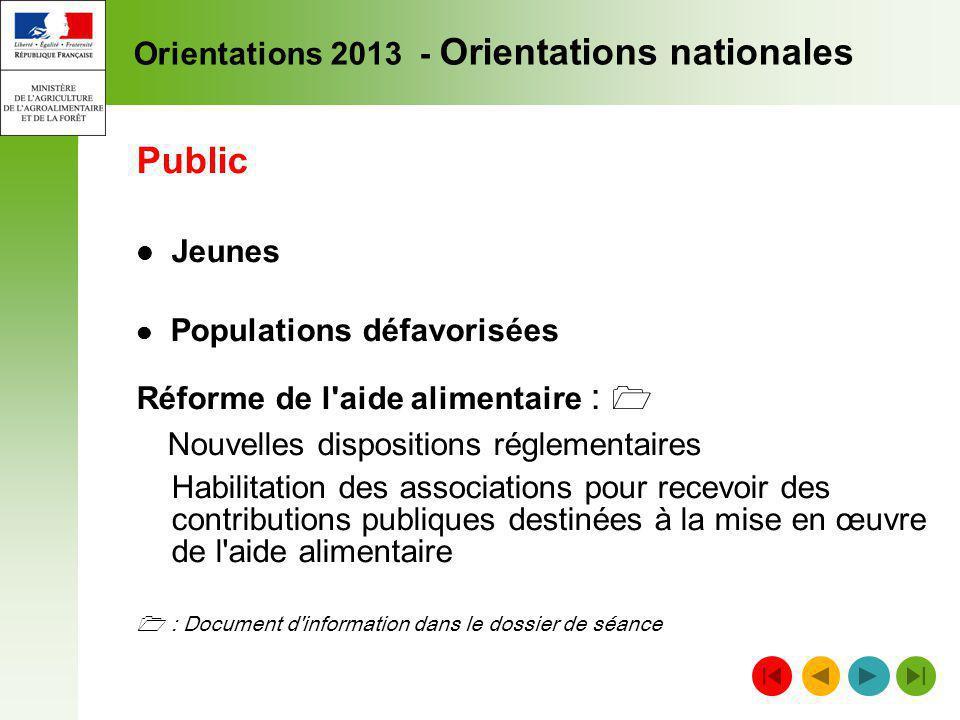 Orientations 2013 - Orientations nationales Public Jeunes Populations défavorisées Réforme de l'aide alimentaire : Nouvelles dispositions réglementair