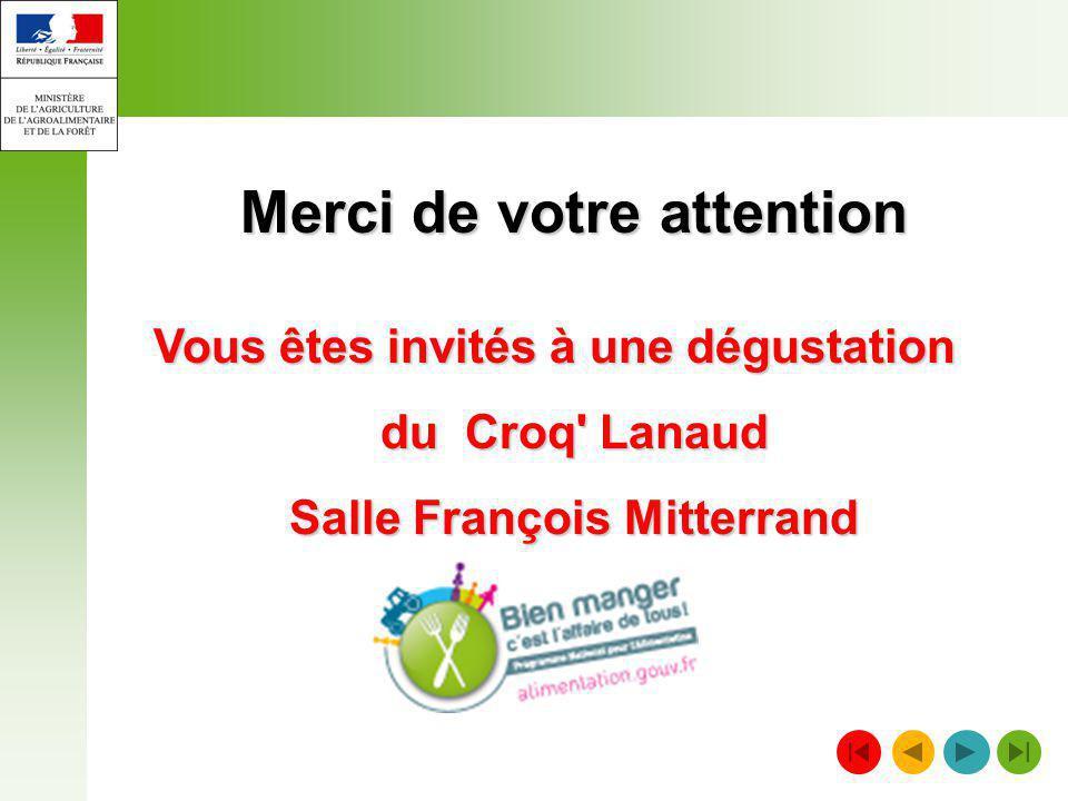 Merci de votre attention Vous êtes invités à une dégustation du Croq' Lanaud Salle François Mitterrand