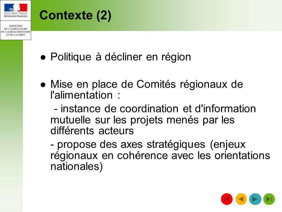 Contexte (2) Politique à décliner en région Mise en place de Comités régionaux de l'alimentation : - instance de coordination et d'information mutuell