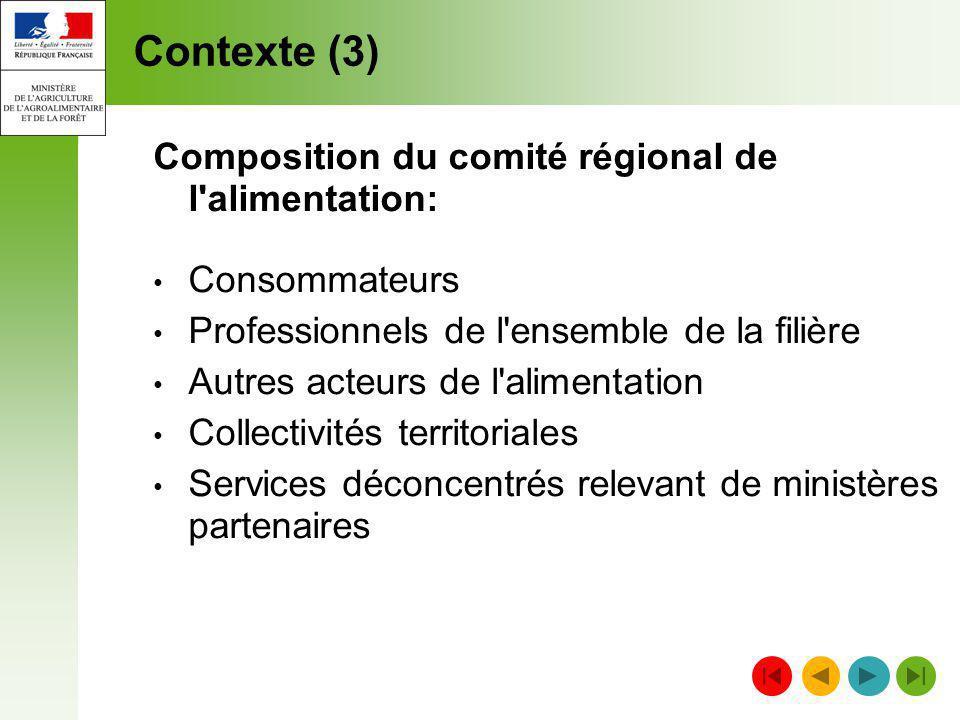Contexte (3) Composition du comité régional de l'alimentation: Consommateurs Professionnels de l'ensemble de la filière Autres acteurs de l'alimentati