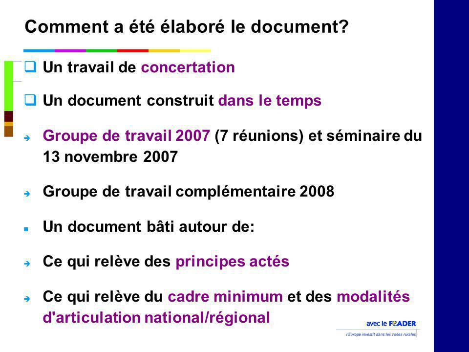 Comment a été élaboré le document? Un travail de concertation Un document construit dans le temps Groupe de travail 2007 (7 réunions) et séminaire du