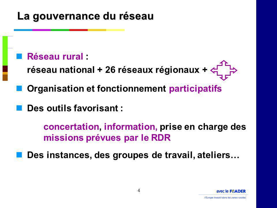 4 La gouvernance du réseau Réseau rural : réseau national + 26 réseaux régionaux + Organisation et fonctionnement participatifs Des outils favorisant : concertation, information, prise en charge des missions prévues par le RDR Des instances, des groupes de travail, ateliers…