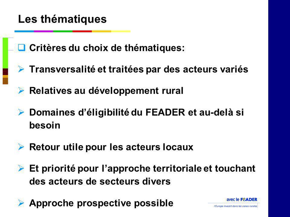 Les thématiques Critères du choix de thématiques: Transversalité et traitées par des acteurs variés Relatives au développement rural Domaines déligibi