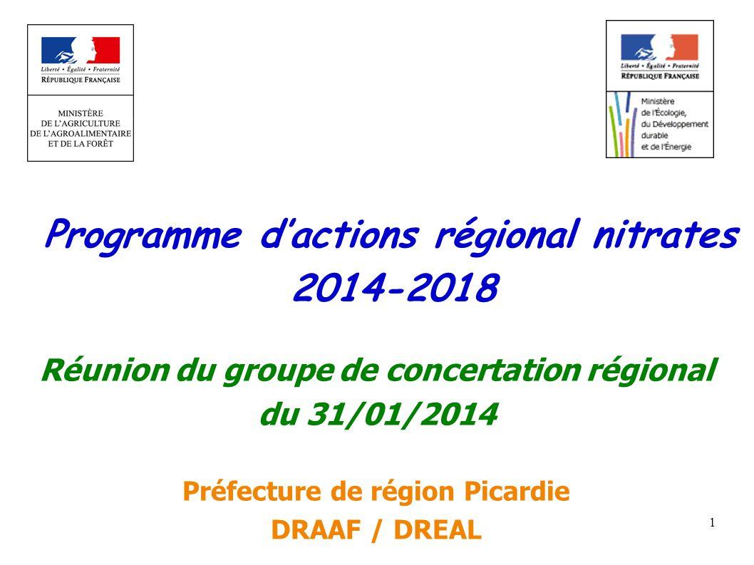 1 Programme dactions régional nitrates 2014-2018 WWW.developpement-durable.gouv.fr Réunion du groupe de concertation régional du 31/01/2014 Préfecture