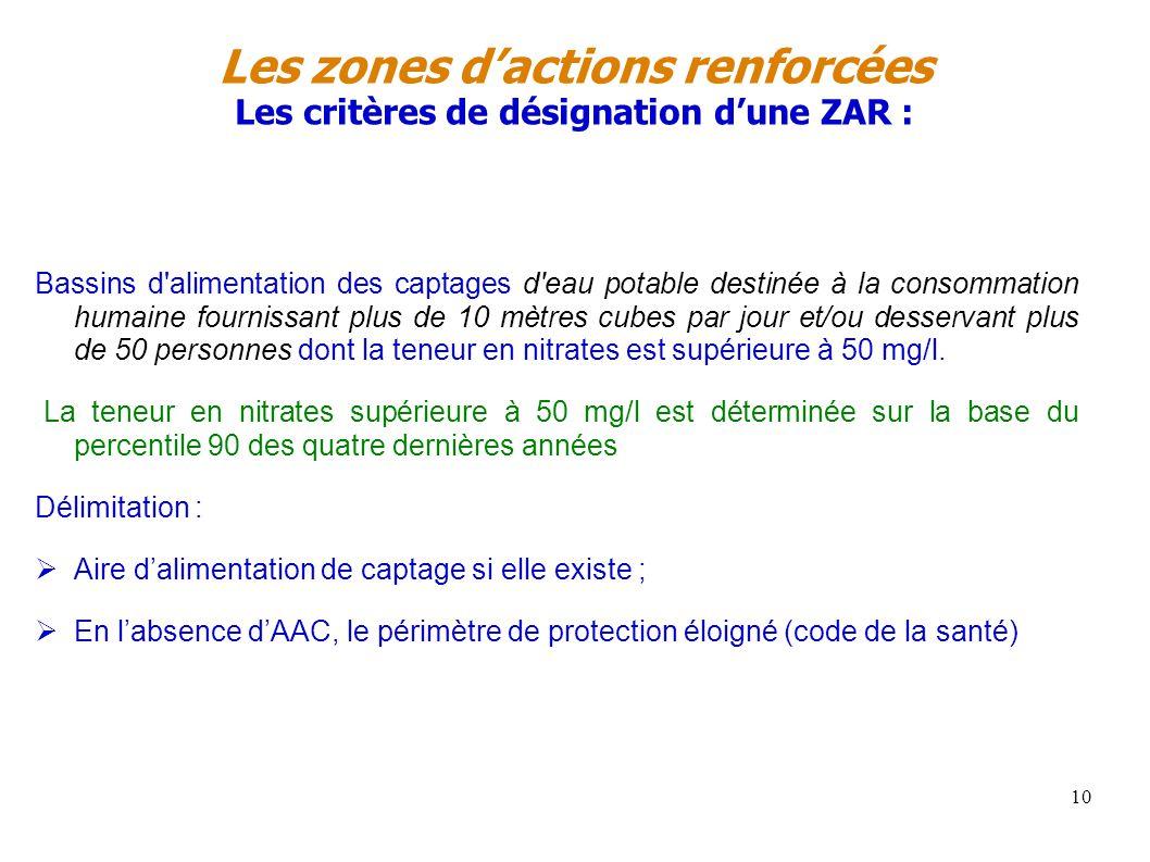 Les zones dactions renforcées Les critères de désignation dune ZAR : Bassins d'alimentation des captages d'eau potable destinée à la consommation huma