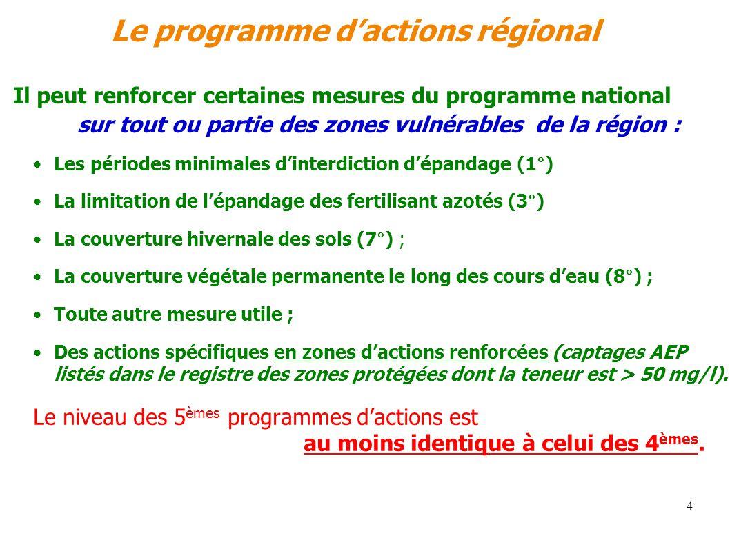 4 Le programme dactions régional Il peut renforcer certaines mesures du programme national sur tout ou partie des zones vulnérables de la région : Les