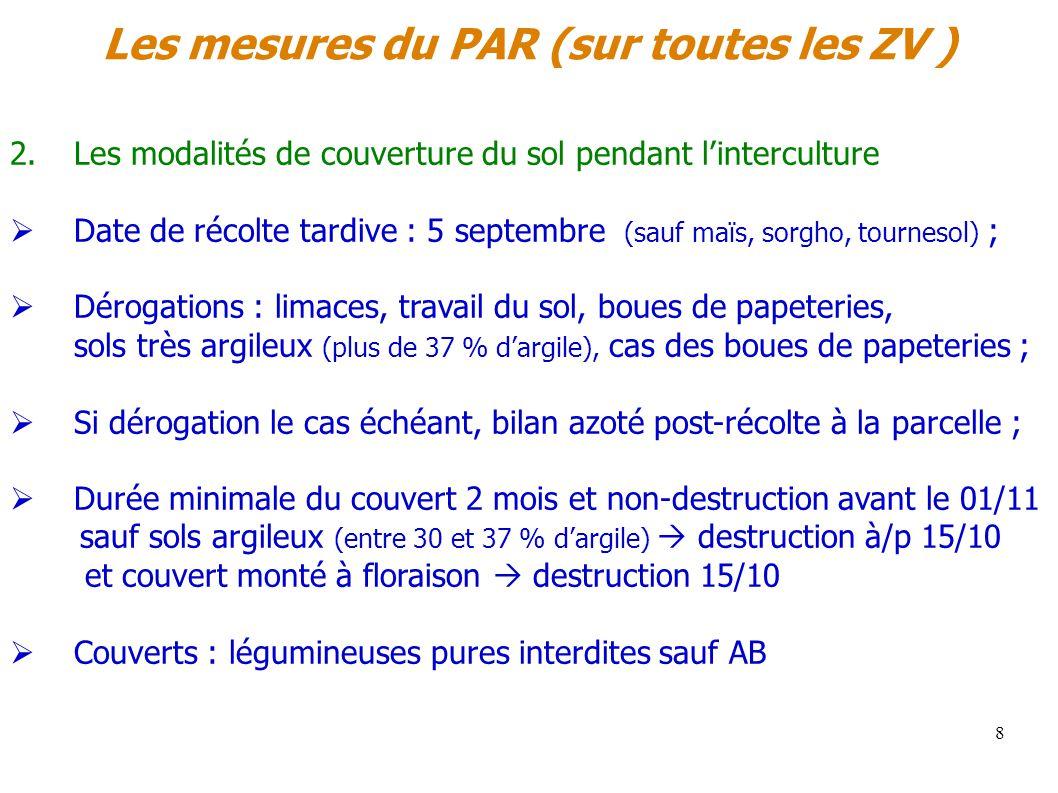 Les mesures du PAR (sur toutes les ZV ) 8 2.Les modalités de couverture du sol pendant linterculture Date de récolte tardive : 5 septembre (sauf maïs,