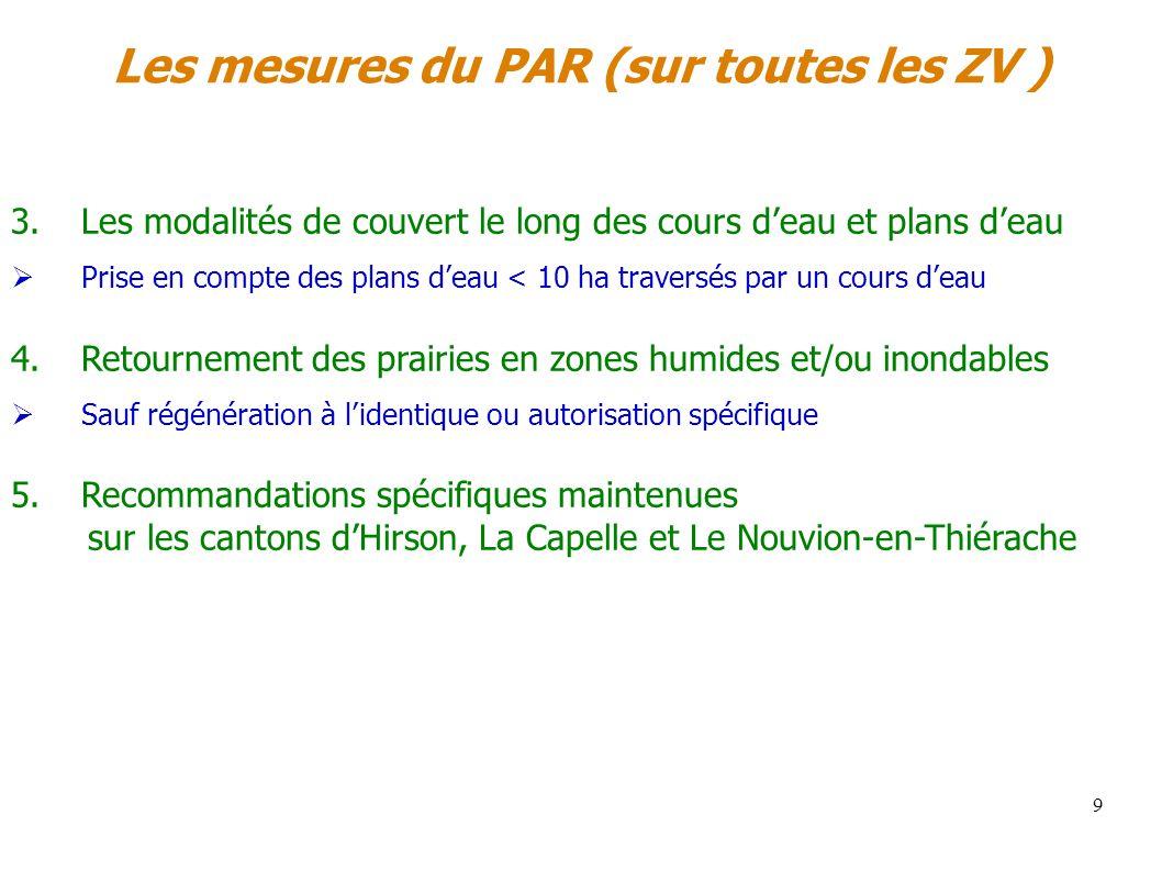 Les mesures du PAR (sur toutes les ZV ) 9 3.Les modalités de couvert le long des cours deau et plans deau Prise en compte des plans deau < 10 ha trave