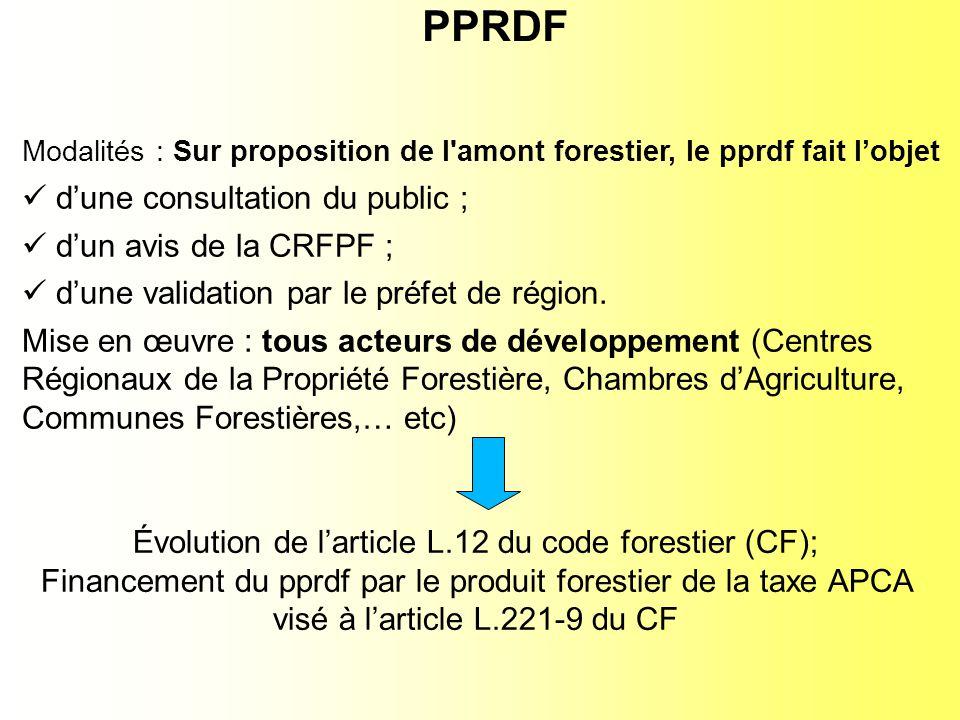 Évolution de larticle L.12 du code forestier (CF); Financement du pprdf par le produit forestier de la taxe APCA visé à larticle L.221-9 du CF Modalités : Sur proposition de l amont forestier, le pprdf fait lobjet dune consultation du public ; dun avis de la CRFPF ; dune validation par le préfet de région.