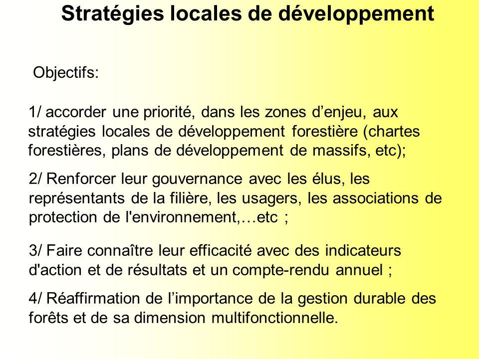 1/ accorder une priorité, dans les zones denjeu, aux stratégies locales de développement forestière (chartes forestières, plans de développement de massifs, etc); 4/ Réaffirmation de limportance de la gestion durable des forêts et de sa dimension multifonctionnelle.