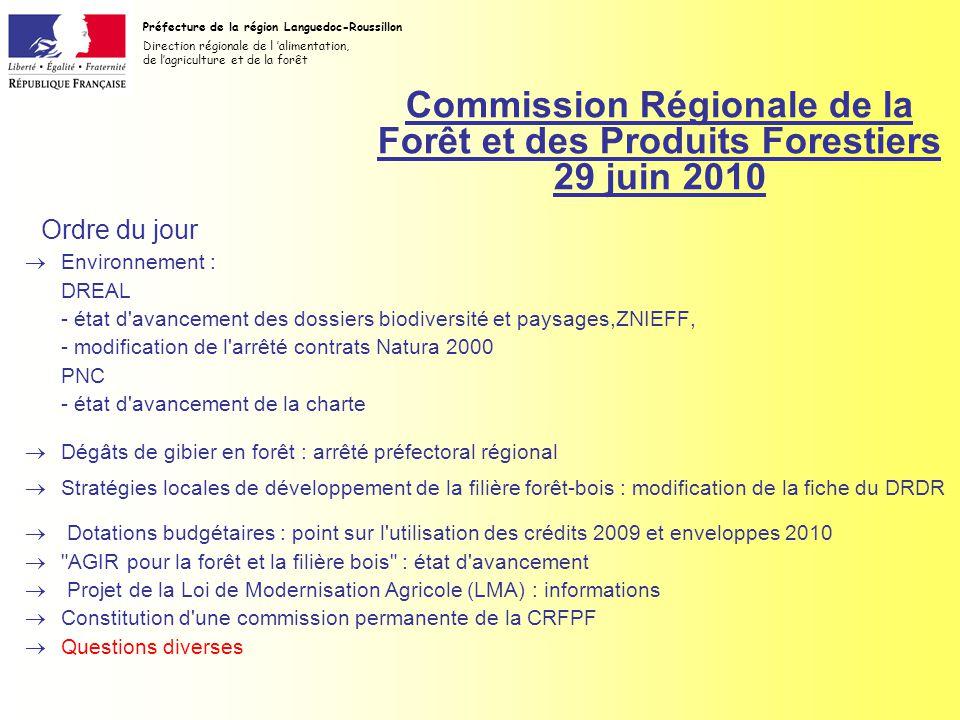 Commission Régionale de la Forêt et des Produits Forestiers 29 juin 2010 Environnement : DREAL - état d avancement des dossiers biodiversité et paysages,ZNIEFF, - modification de l arrêté contrats Natura 2000 PNC - état d avancement de la charte Dégâts de gibier en forêt : arrêté préfectoral régional Stratégies locales de développement de la filière forêt-bois : modification de la fiche du DRDR Dotations budgétaires : point sur l utilisation des crédits 2009 et enveloppes 2010 AGIR pour la forêt et la filière bois : état d avancement Projet de la Loi de Modernisation Agricole (LMA) : informations Constitution d une commission permanente de la CRFPF Questions diverses Préfecture de la région Languedoc-Roussillon Direction régionale de l alimentation, de lagriculture et de la forêt Ordre du jour