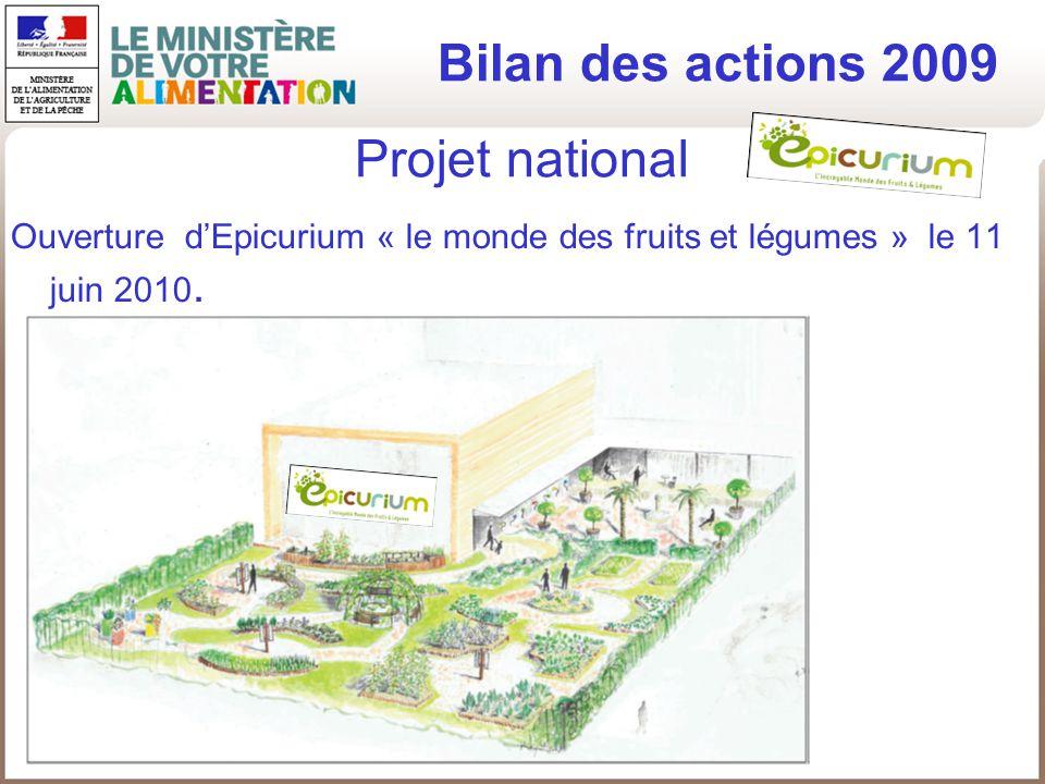 Projet national Ouverture dEpicurium « le monde des fruits et légumes » le 11 juin 2010. Bilan des actions 2009
